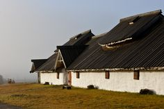 The longhouse at Veien on a misty morning. Archaeology, Cabin, House Styles, Home Decor, Decoration Home, Room Decor, Cabins, Cottage, Home Interior Design