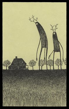 untitled    by: John Kenn-- This is drawn on a post-it note, people!  I love the surreal nature of his work and the incredible detail.