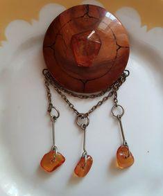 Vintage Retro Latvian Folk Jewelry Wooden Sakta Carved Wood Brooch Pin Amber #Handmade