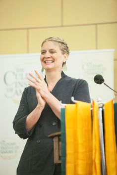 """Amanda Freitag '89 shares advice with CIA grads: """"Remember what your chef instructors said, 'Mise en place is everything. Preparation is everything.'"""""""