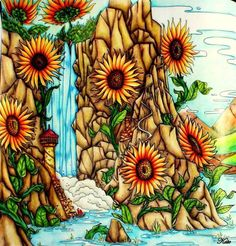 Coloring Book Colouring Colorful Flowers Sunflowers Landscapes Pages Scenery Paisajes Books