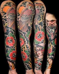 traditional american tattoo sleeve | Traditional Sleeve By Myke Chambers 8531 Santa Monica Blvd West Hollywood, CA 90069 - Call or stop by anytime. UPDATE: Now ANYONE can call our Drug and Drama Helpline Free at 310-855-9168.