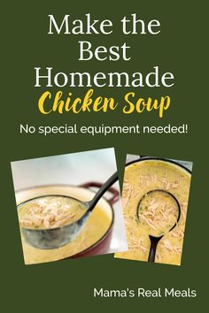 There's nothing better than chicken soup when you are feeling a bit under the weather. Or just to give you a boost on a chilly day! Check out this simple homemade chicken soup recipe that my kids say is the best - no special equipment needed. Homemade Cream Of Chicken Soup Recipe, Homemade Soup, Best Soup Recipes, Healthy Soup Recipes, Simple Recipes, Asian Chicken Recipes, Cold Dishes, Clean Eating Chicken, The Best