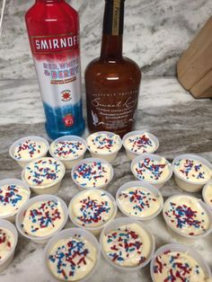 Perfect for July these taste like the red white and blue rocket popsicles 1 box sugar free vanilla pudding ¾ cup skim milk ¼ cup vanilla whiskey cream ½ red white and berry vodka 1 tub of fat … Pudding Shot Recipes, Jello Pudding Shots, Jello Shot Recipes, Alcohol Drink Recipes, Vanilla Pudding Shots, Pudding Cup, Martini Recipes, Salad Recipes, Summer Drinks