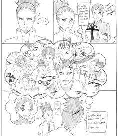 Shikadai asking Shikamaru what Gaara was like when he was younger.