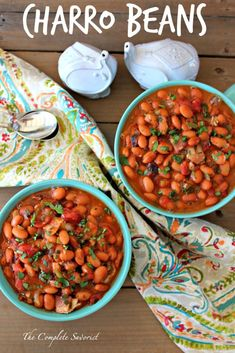 Easy Charro Beans with Canned Beans ~ Authentic Mexican charro beans, made quick. - Easy Charro Beans with Canned Beans ~ Authentic Mexican charro beans, made quick and easy using can - Mexican Beans Recipe, Canned Beans Recipe, Mexican Pinto Beans, Beans In Crockpot, Mexican Dinner Recipes, Mexican Desserts, Recipe For Charro Beans, Mexican Meals, Barracho Beans