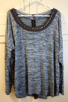 b2b94db344f Maurices Embelished Neckline Blue Tunic Light Weight Long Sleeve Top Plus  Sz 2. Lorna Thompson · Plus size Fashion
