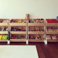 A perfect cleaned playroom with the toystore by Oeuf nyc #kidsdesign #kidsfurniture #oeufnyc #littlefashionaddict #storage #