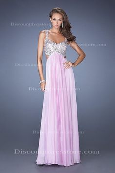 Straps A-line Chiffon Floor Length Prom Dress