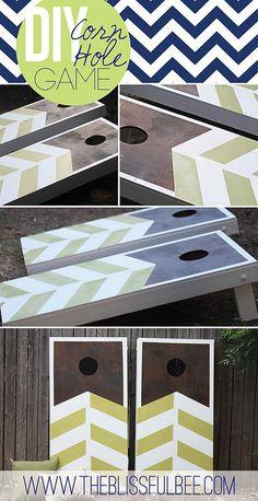 Chevron Stripe Corn Hole Boards   Creative Corn Hole Boards To Inspire Your Next Backyard Game Night
