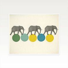Zoo Animal Nursery Art, Circus Print, Retro Wall Art - Travelling Elephants