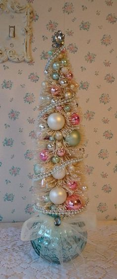 Shabby Bottle Brush Tree  Aqua Mercury Glass and by IllusiveSwan