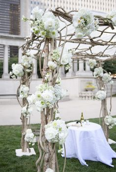 Amazing outdoor setup would be great for the ceremony or over a sweetheart table at the reception