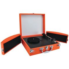 Bluetooth(R) Classic Vinyl Record Player Turntable with Fold-Out Speakers & Viny