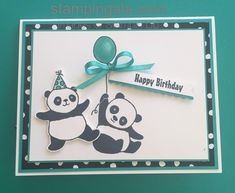 Stampin Up Party Pandas Bday Cards, Kids Birthday Cards, Handmade Birthday Cards, Panda Birthday, Panda Party, Stamping Up Cards, Animal Cards, Kids Cards, Creative Cards