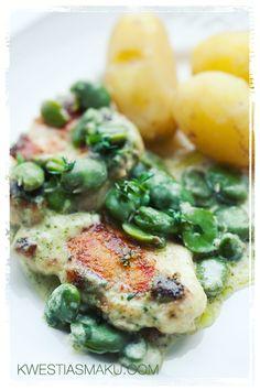 Piersi kurczaka w kremowym sosie z zielonego pesto, z bobem i tymiankiem - Adrian's Perfect Dinner :-) Pinned by #AdrianWerner
