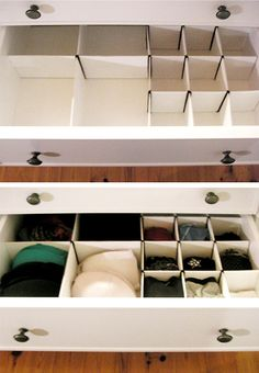 How to: Make Homemade Drawer Organizers... $10 for a piece of cardboard large enough for the 4 drawers I want to clean up or $10-$20 per drawer for pre-made organizers... Win! Organization Hacks, Dresser Drawer Organization, Diy Clothes Drawer Organizer, Organizing Drawers, Organising, Diy Drawer Dividers, Diy Drawers, Organizing Tips, Bra Storage