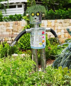 How to make a scarecrow (scare-bot style): There's no place like a homegrown veggie garden, so protect it from unwelcome feathered visitors with this super scare-bot. It's the perfect project to make with your kids and – by giving used cans and utensils new life – it also provides a great lesson in upcycling.