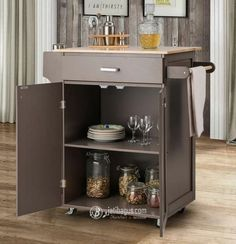 Spice Rack Pull Out Drawer, Pull Out Drawers, Rolling Kitchen Island, Kitchen Island Cart, Cofee Machine, Towel Holder, Storage Spaces, Spices, Cabinet
