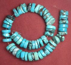 "Turquoise Loose 10mm Heishi Beads Natural Blue 9"" Strand Lot # 507 #SleepingBeauty #Southwest"