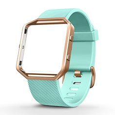 UMTELE Silicone Replacement Band with Rose Gold Frame for Fitbit Blaze Smart Fitness Watch Small Turquoise * Check out the image by visiting the link. (Note:Amazon affiliate link)