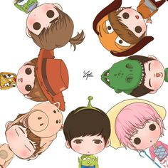 Toy Story version of Infinite. One glance and you can distinguish which one is Sunggyu xD Got7 Fanart, Kpop Fanart, Kpop Drawings, Disney Drawings, Kim Myungsoo, Pixar, Treasure Planet, Cartoon Fan, Princess Drawings