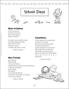 School Days: Pick a Poem - Holidays and Celebrations - Theme