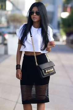 The Look: Black Stylish Skirts (mesh panel skirt) Top White Crop Top
