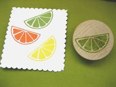 Citrus Slice, Lemon Lime Orange, Hand carved Rubber Stamp. $5.00, via Etsy.