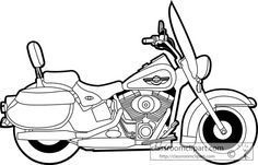 Transportation Black and White Outline Clipart - Motorcycle Clipart, Motorcycle Images, Motorcycle Posters, Chopper Motorcycle, Harley Davidson Decals, Harley Davidson Kunst, Motos Harley, Harley Davidson Motorcycles, Scratchboard Art