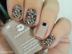 Nude And Black Stamping Nail Art