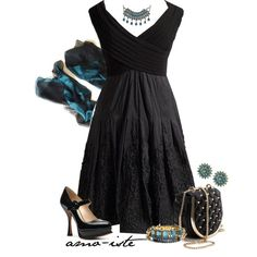 """""""Evening Black - Plus Size"""" by amo-iste on Polyvore  love the dress, handbag and some of the jewelry not the necklace and the shoes are a bit high for me."""