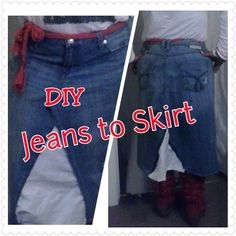 DIY: Learn How to change those Old Jeans Into A Skirt!! Easy step by step instruction! http://youtu.be/Y6aqJdcYC9c