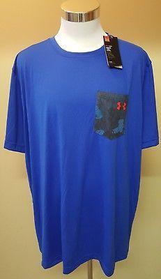 New Under Armour Heat Gear Pocket Athletic Shirt Short Sleeve Blue Size 3XL