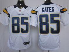 Mens Nike NFL San Diego Chargers #85 Antonio Gates White Elite Jerseys