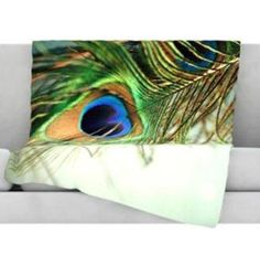 """Teal Peacock Feather Fleece Throw Blanket, 40 by 30"""" $59.00 Size Options Matching Bedding www.AllThingsPeacock.com"""