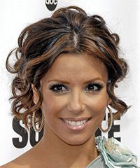 View and try on this Eva Longoria Parker Updo Long Curly Formal Wedding hairstyle - Dark Brunette.