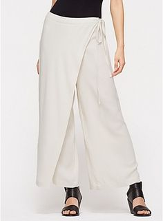 wide-leg cropped wrap pant in silk georgette crepe--Eileen Fisher