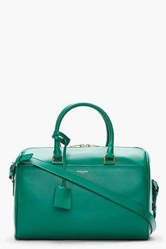 SAINT LAURENT Emerald Green Leather Bo Duffle Bag