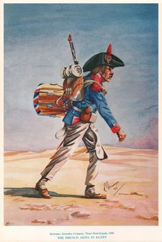 French; 75th Demi Brigade, Drummer of the Grenadier Company, Egypt 1800 by R.J.Marrion. Note the small piece of rag jammed in the musket barrel to keep the sand out.