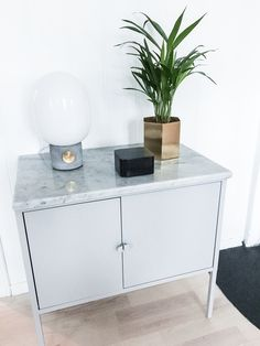 my diy ikea hack of lixhult cabinet with real marble on top photo