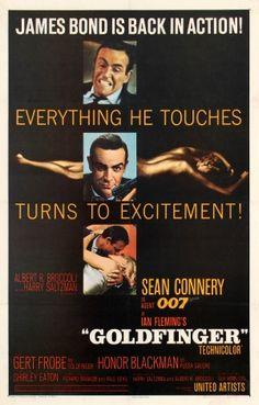 "Agente 007 - Missione Goldfinger [Goldfinger] ""James Bond 1964 di Guy Hamilton con Sean Connery, Honor Blackman, Gert Fröbe, e Shirley Eaton. 007 Contra Goldfinger, James Bond Goldfinger, Casino Royale, James Bond Movie Posters, James Bond Movies, Cinema Posters, Music Posters, Sean Connery 007, Movies"