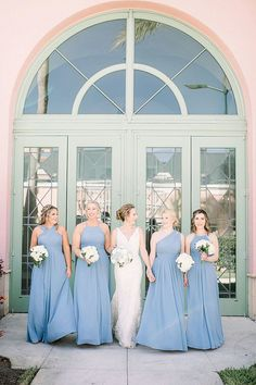 Full Length Blue Bridesmaid Dresses // A Classic St. Petersburg Wedding with 1920s Style via TheELD.com