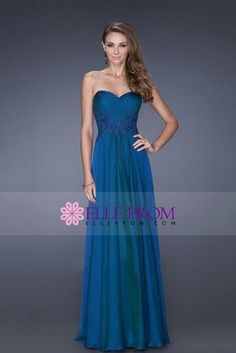 2015 Sweetheart Pleated Bodice A-Line Chiffon Evening Dresses With Applique