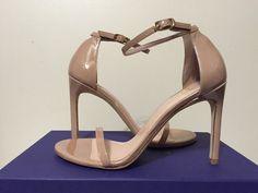 Stuart Weitzman Nudist song Adobe Aniline Tan Patent Leather Heels Sandals 7 M #StuartWeitzman #FashionHeelsSandalsAnkleStrap