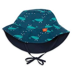 Lassig Size Reversible Sun Protection Whale Print Bucket Hat In Navy aqua  Blue 565f329d535f
