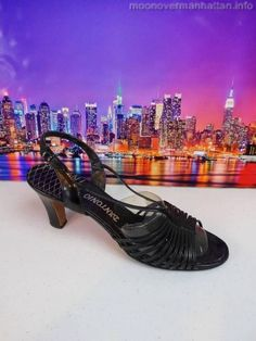 "Womens shoes JACOBSON'S D'ANTONIO NEW YORK blk VINTAGE strappy 3"" heels sz 10 M"