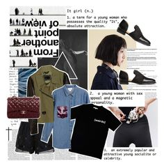 it girl. by inkcoherent on Polyvore featuring polyvore fashion style Illustrated People Monki Mackage Thakoon Addition H&M Chanel women's clothing women's fashion women female woman misses juniors denim Dark