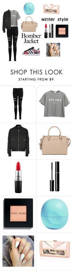 """bomber jacket-winter style"" by mikala-jane-xoxo ❤ liked on Polyvore featuring Miss Selfridge, Chicnova Fashion, Topshop, MICHAEL Michael Kors, adidas, MAC Cosmetics, SUQQU, Bobbi Brown Cosmetics, Eos and women's clothing"