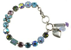 """Diana"" Silver Plated Swarovski Crystal Fairy Wings Tennis Bracelet with Heart"